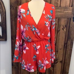Red Floral Bell Sleeve Romper
